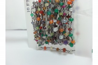 Mix Gemstone Faceted Rondelle Beads Rosary Chain | Handmade Rosary Chain | Gemstone Beads...