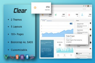 Clear VueJS Laravel Admin Template