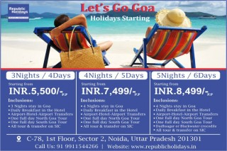 Goa Tour Package 2018 with Republic holidays Travel Services.